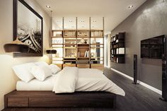 Open shelving separates the sleeping area from the living area.