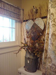 Shabby shutter as a valance treatment