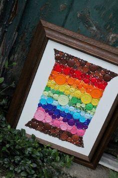 art decor, rainbow button, button art, button decor, diy button
