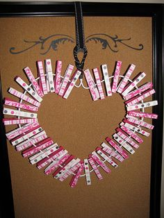 clothes pin valentine wreath-love this! And it can be done for so many more holidays than just Valentine's Day.