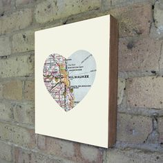 Milwaukee Art City Heart Map - Wood Block Art Print $39.00