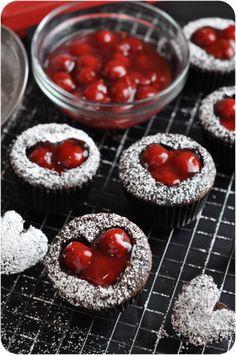 Valentine's Day Cherry Cordial Cupcakes - Dark chocolate cake filled with dark chocolate ganache and cherry cordial cream, then topped with cherries.