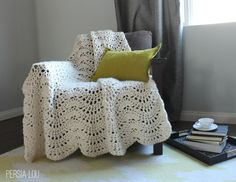 Persia Lou made this amazing Feather and Fan Crochet Throw using Wool-Ease Thick & Quick, and shared her pattern so you can make one too.