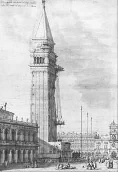 Over the centuries Campanile di San Marco had always undergone repair works. This is a drawing by Canaletto showing repair works in the 18th century.