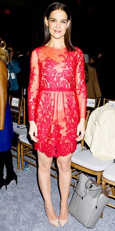 Look of the Day - February 13, 2014 - Katie Holmes in Marchesa #InStyle