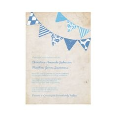 Blue and Ivory Fun Flags Wedding Invitations