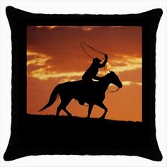 WESTERN COWBOY AT SUNSET Black Cushion Cover Throw Pillow Case Gift  http://stores.shop.ebay.co.uk/giftbazaar