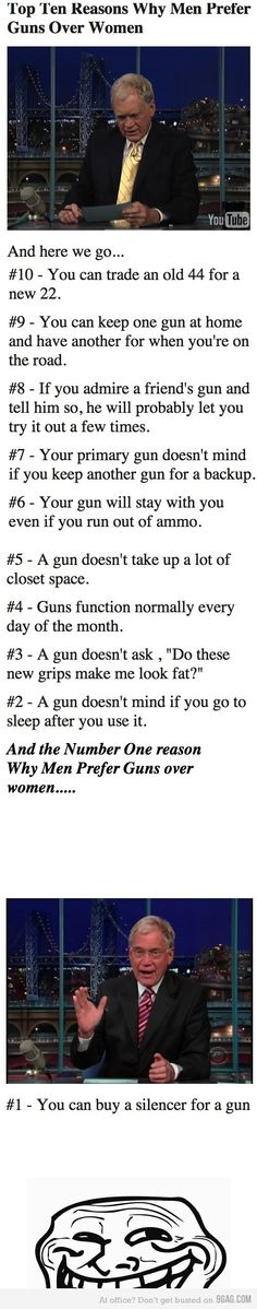 Very Funny -- Men would do well not to confuse the two.  A gun, however, won't dust off a man's bruised pride and help him back onto his feet.  A good woman will do that. #Guns #Humor #FitYourKit