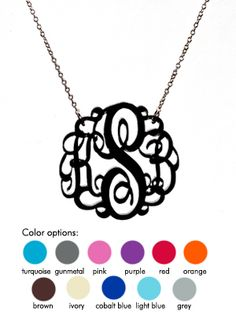 Most adorable monogrammed necklace.  Would be super cute in orange for gameday!