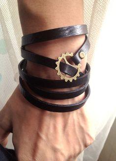 Geared Leather Bracelet