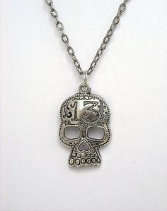 Skull Necklace Lucky 13 Skull Charm Necklace Day by InkandRoses13, $13.99