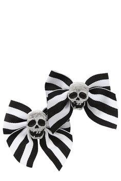 Black And White Stripe Skull Ribbon Bow Hair Clips