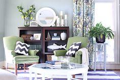 green chairs, botanical curtains