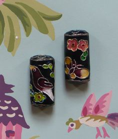 Black / Multi Cloisonne Beads with Bird & Butterfly Pattern