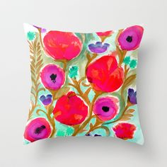 Fiona Flower Throw Pillow by Crystal Walen - $20.00