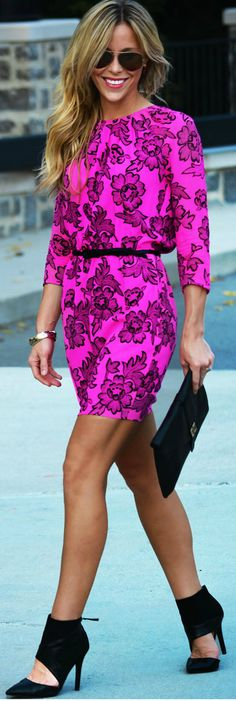 love the color of this bright pink dress & those shoes!