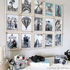 Clever DIY Rope Picture Frame Gallery Wall. CC: http://www.completely-coastal.com/2014/07/rope-picture-frame-gallery-wall.html
