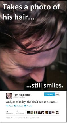 I love the laugh lines around his eyes!!! Hiddles, you are one darling man.