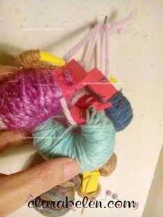 Cómo organizar restos de lana reciclando recortes de foami o goma eva - Inspiraciones: manualidades y reciclaje