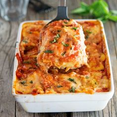 Cauliflower Noodle Lasagna - A lightened up, gluten-free, and healthy version of the traditional Italian dish. It melts in your mouth!