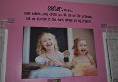 love this sister wall decal for the toyroom tradingphrases.com