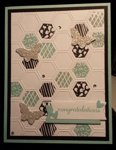 Undefined Stampin Up Six sided mini Sampler card self carved stamps by Gloria Kremer, engagement, wedding or baby card. Circle thinlits die for banners.