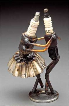 Spark plug dancers with jello mold tutu skirt; assemblage found object art sculpture; recycle, upcycle, salvage, diy, repurpose!  For ideas and goods shop at Estate ReSale & ReDesign, Bonita Springs, FL