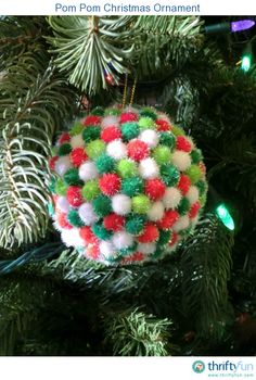 This ornament was so easy to make and would be a perfect craft for children. There are so many color choice for pom poms so it can be made to match any theme on your tree.