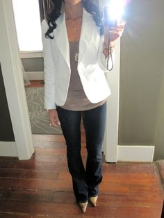 white blazer   neutral top   long pendant necklace   dark denim