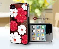 covers for the iphone black iphone 4 case iphone 4s case iphone 4 cover red white flowers design. $13.99, via Etsy.