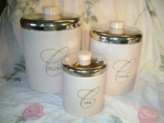 4 Vintage Ransburg Pink Canisters. $39.99, via Etsy.