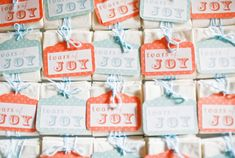 """Tears of Joy"""" hankies – a cute yet practical favor to give before the ceremony. #MarthaStewartWeddingsMagazine"""