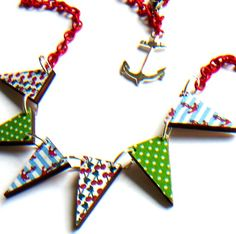 cherries anchors and polka dots wooden necklace by Fluffington, $18.00