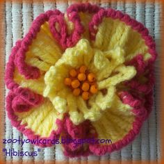 crocheted hibiscus~ free pattern ᛡ