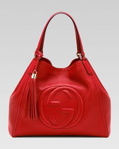 Gucci Soho Leather Shoulder Bag, Red