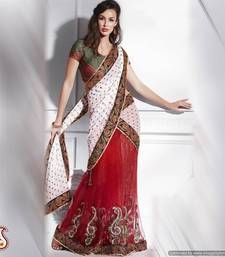 lehenga sare, carmin red, indian design, chiffon jacquard, designer sarees, white, sare onlin, minut sare, desi style