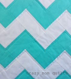 crazy mom quilts: aqua zig zag quilt