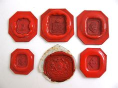 Group of Six ANTIQUE Wax Seal Impressions ~ Part Of An Important Collection ~NR