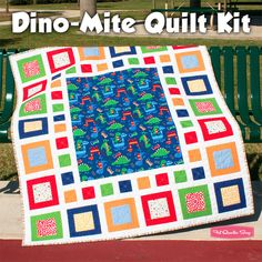 Dino-Mite Quilt Kit Featuring Retro Basics by Michael Miller Fabrics - Fat Quarter Shop  love the dinosaur fabric
