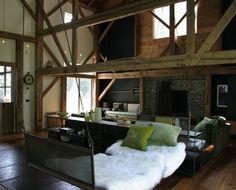 bedroom idea, architects, sweet, man cave, hang bed, hanging beds, barn, wood beams, alex o'loughlin