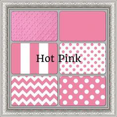 Modern Pink Chevron and Polka Dot Crib Bedding