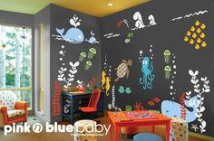 Underwater Aqua World Playroom Wall Decal by pinknbluebaby on Etsy