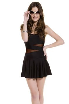Contrast Mesh Panel Backless Swimsuit Dress OASAP.com
