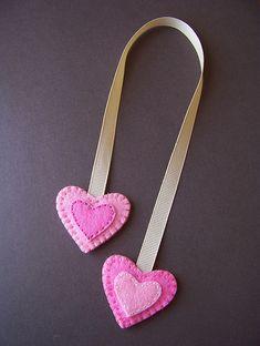 Double-sided felt heart bookmark