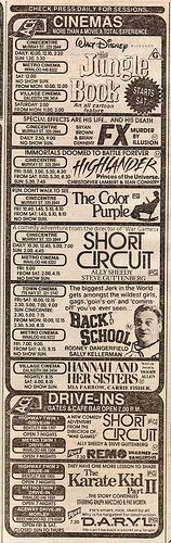 Movie listings in the paper