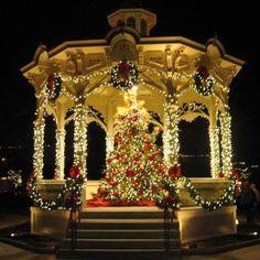 Christmas Light Decorated Gazebo