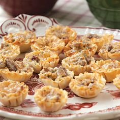 Yummy Sausage Cups   MyRecipes.com finger food recipes, sausages, dip, yummi sausag, sausage cups, parti, phyllo cup appetizers, cup recip, sausag cup