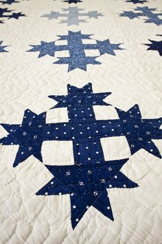 """Detail, Blue and White """"Duckfoot"""" Quilt 