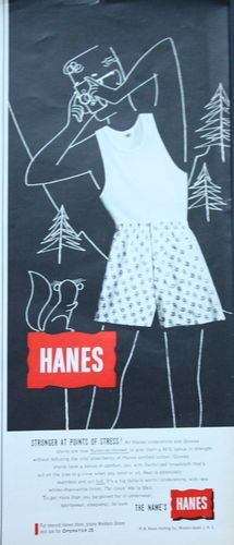 1950s ad Mens Underwear HANES Boxers Man Taking Photo of Squirrel