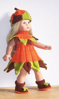 Free doll fall fairy costume knitting pattern-how cute!